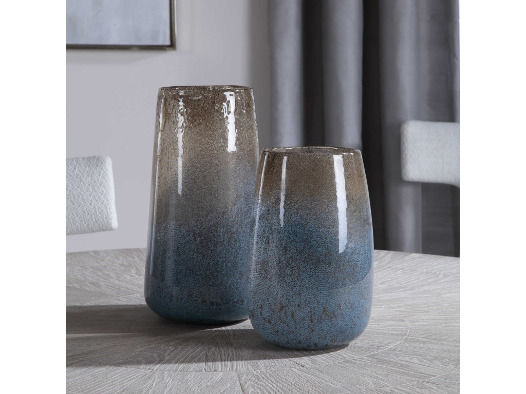Uttermost Accessories - Vases and UrnsIone Seeded Glass Vases, S/2