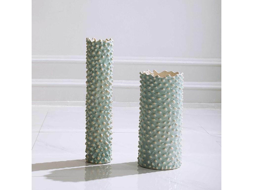 Uttermost Accessories - Vases and UrnsAqua Ceramic Vases, S/2