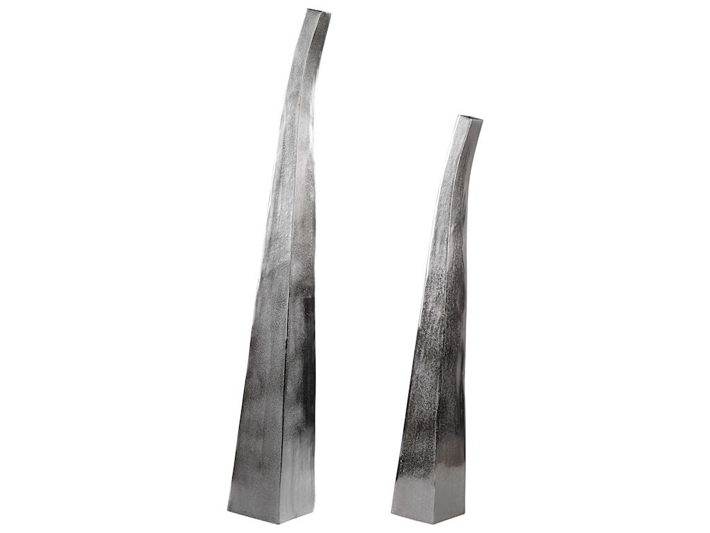 Uttermost Accessories - Vases and UrnsMatte Nickel Vases Set of 2