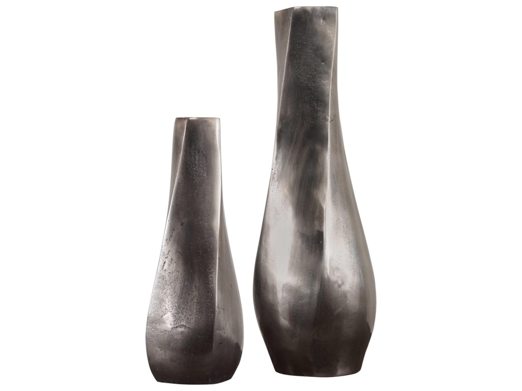 Uttermost Accessories - Vases and UrnsNoa Dark Nickel Vases Set/2