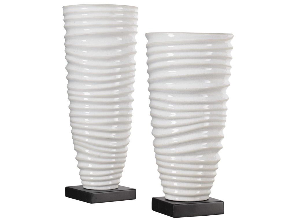 Uttermost Accessories - Vases and UrnsKiera Aged White Vases, S/2