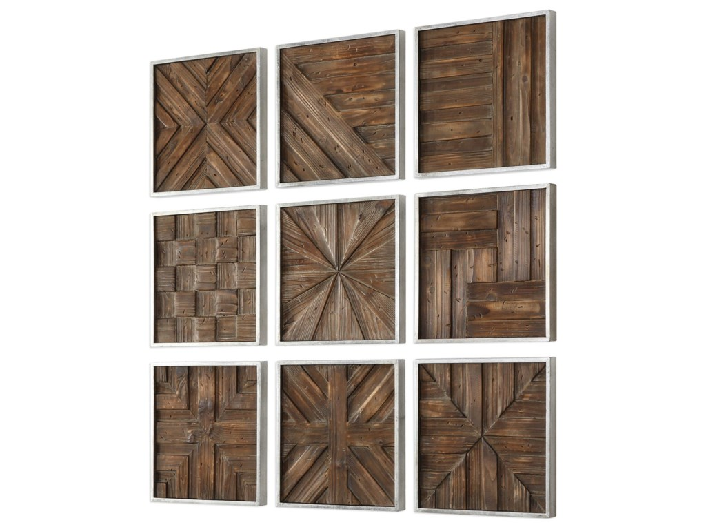 Uttermost ArtBryndle Rustic Wooden Squares Set of 9