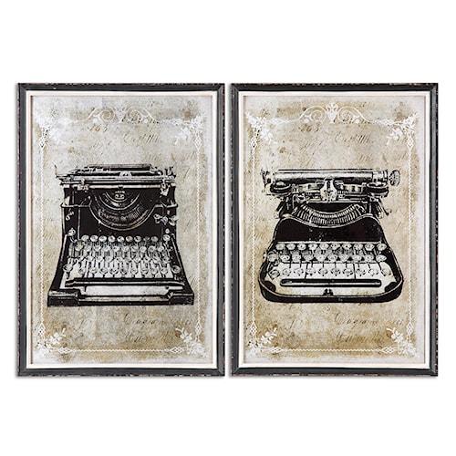 Uttermost Art Classic Typewriters Vintage Art, S/2