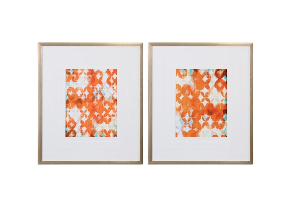Uttermost ArtOverlapping Teal And Orange Modern Art, S/2
