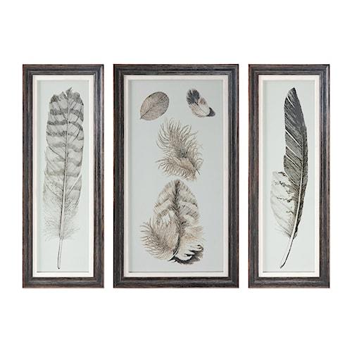Uttermost Art Feather Study Prints, S/3