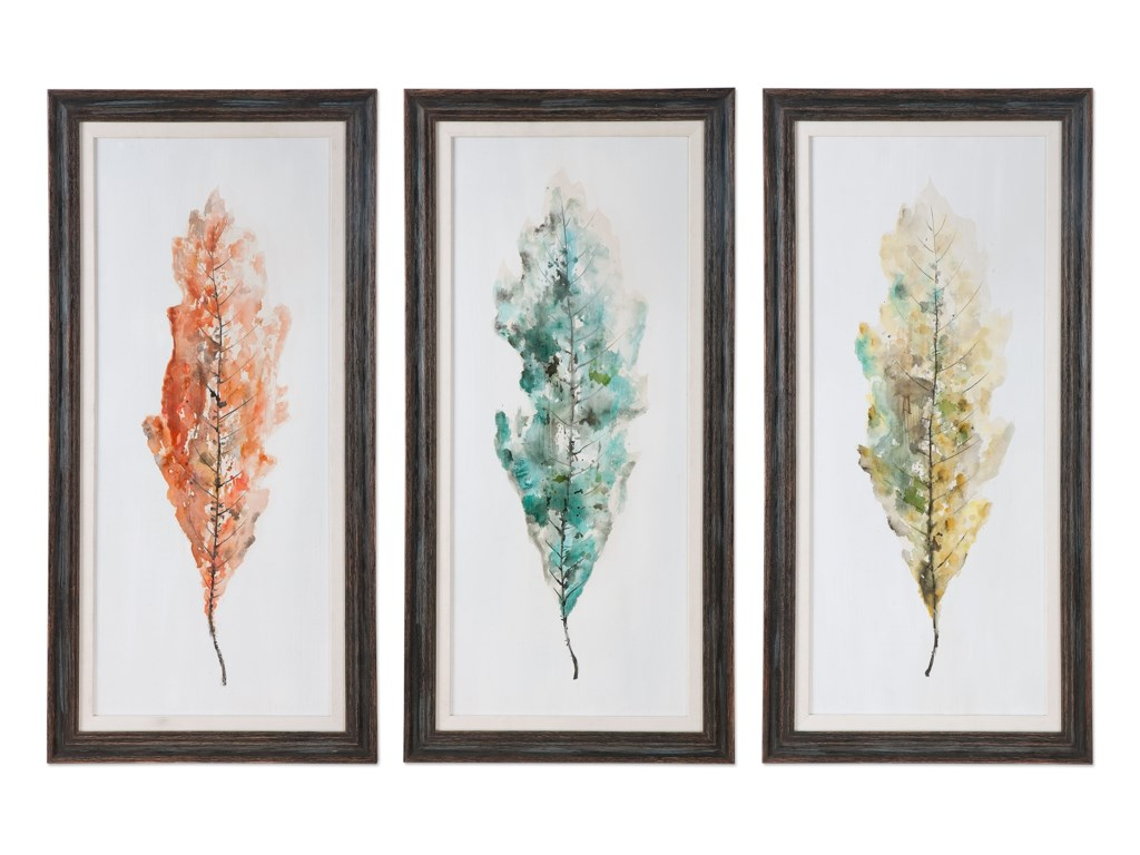 Uttermost ArtTricolor Leaves Abstract Art, S/3