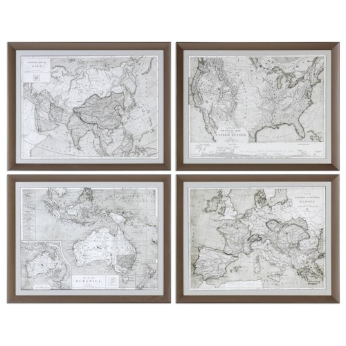 Uttermost Art World Maps (Set of 4)