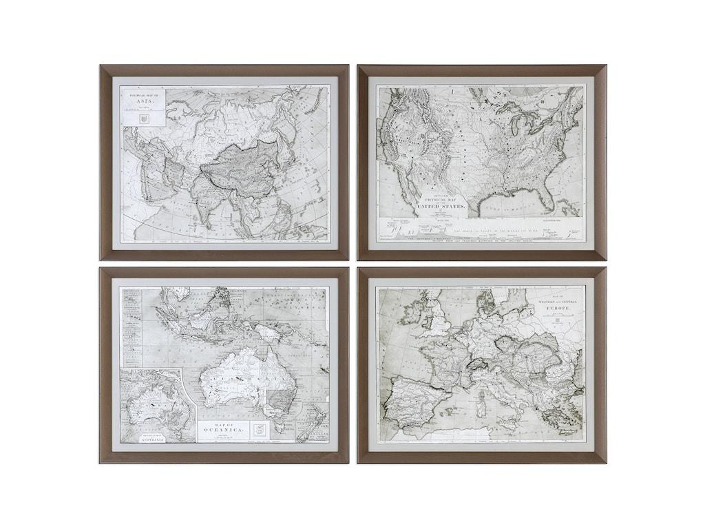 Uttermost ArtWorld Maps (Set of 4)