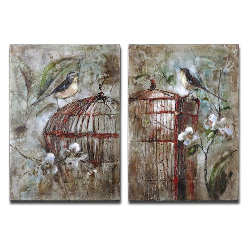 Uttermost Art Birds In A Cage Set of 2