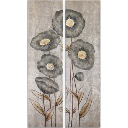 Graceful Flowers Hand Painted Art, Set of 2