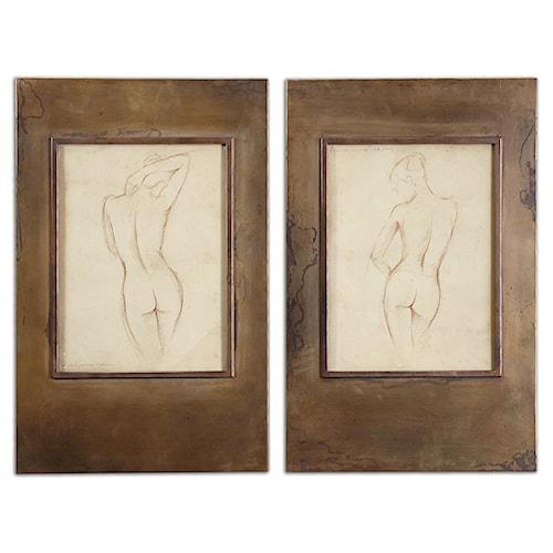 Uttermost Art Bronze Figures Art Set of 2
