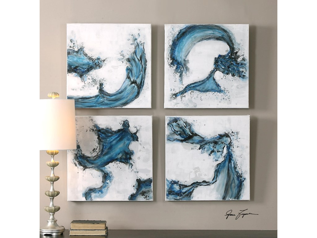 Uttermost ArtSwirls In Blue Abstract Art, S/4