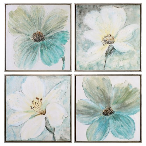 Uttermost Art Florals In Cream And Teal (Set of 4)