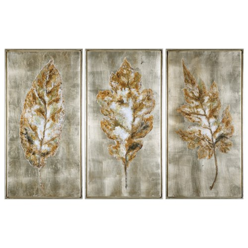 Uttermost Art Champagne Leaves (Set of 3)