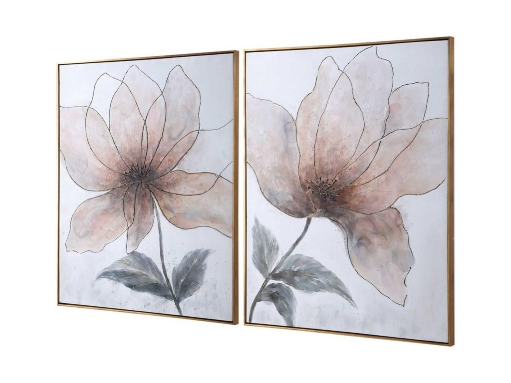 Uttermost ArtVanishing Blooms Hand Painted Canvases, Set/