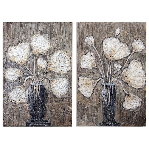 Uttermost Art Clear Water Stems Floral Art S/2