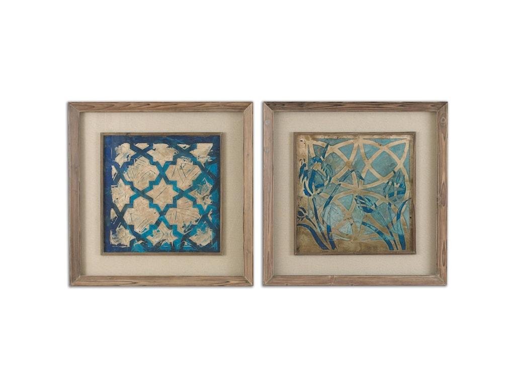 Uttermost ArtStained Glass Indigo Art Set of 2