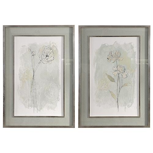 Uttermost Art Set of 2 Stone Flower Study Prints