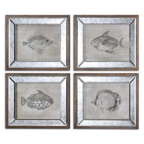 Uttermost Art Mirrored Fish Framed Art Set of 4