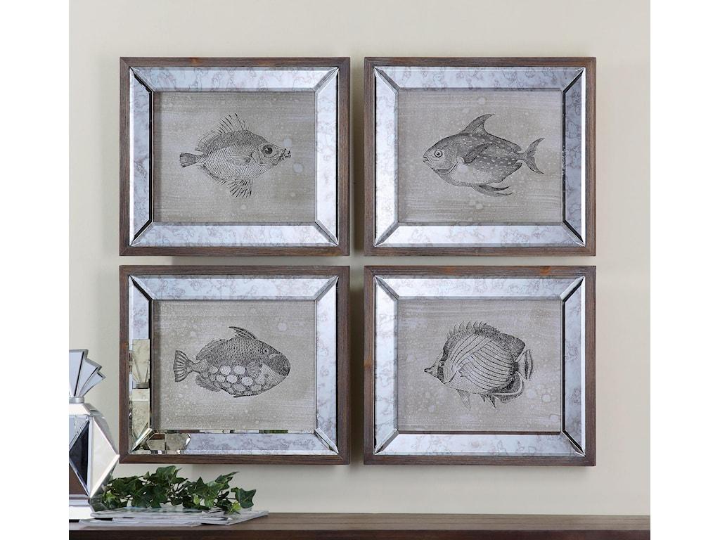 Uttermost ArtMirrored Fish Framed Art Set of 4