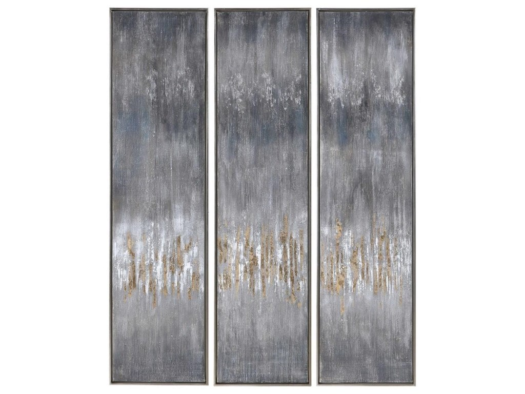 Uttermost ArtGray Showers Hand Painted Canvases, Set/3
