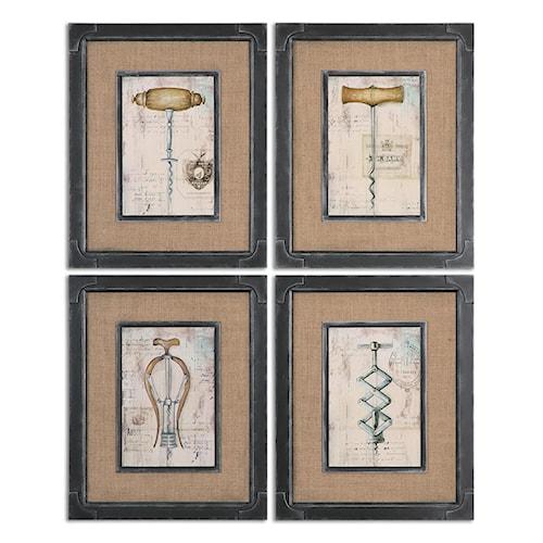 Uttermost Art Antique Corkscrews Vintage Art, S/4
