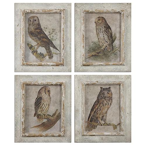 Uttermost Art Owls Framed Art, S/4