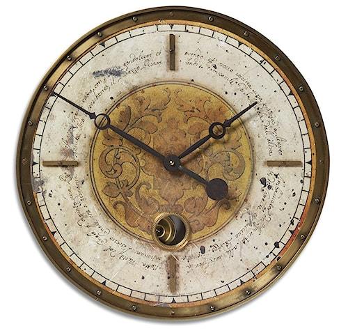 Uttermost Clocks Leonardo Script Cream Clock