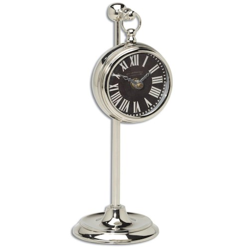 Uttermost Clocks Pocket Watch Nickel Marchant Black Clock