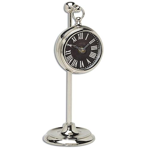Uttermost Clocks Pocket Watch Nickel Marchant Black Clock