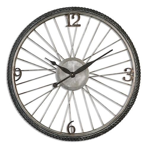 Uttermost Clocks Spokes Aged Wall Clock