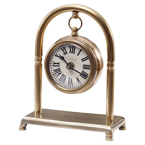 Uttermost Clocks Bahan Brass Table Clock