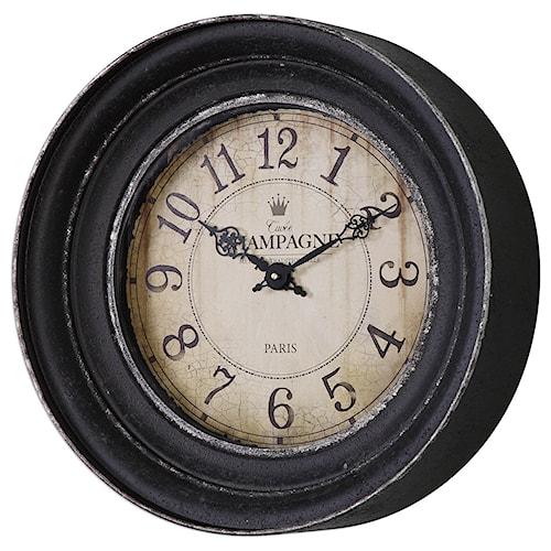 Uttermost Clocks Melania Aged Black Wall Clock