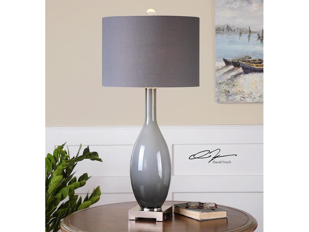 Uttermost Table LampsVallo Smoke Gray Glass Lamp