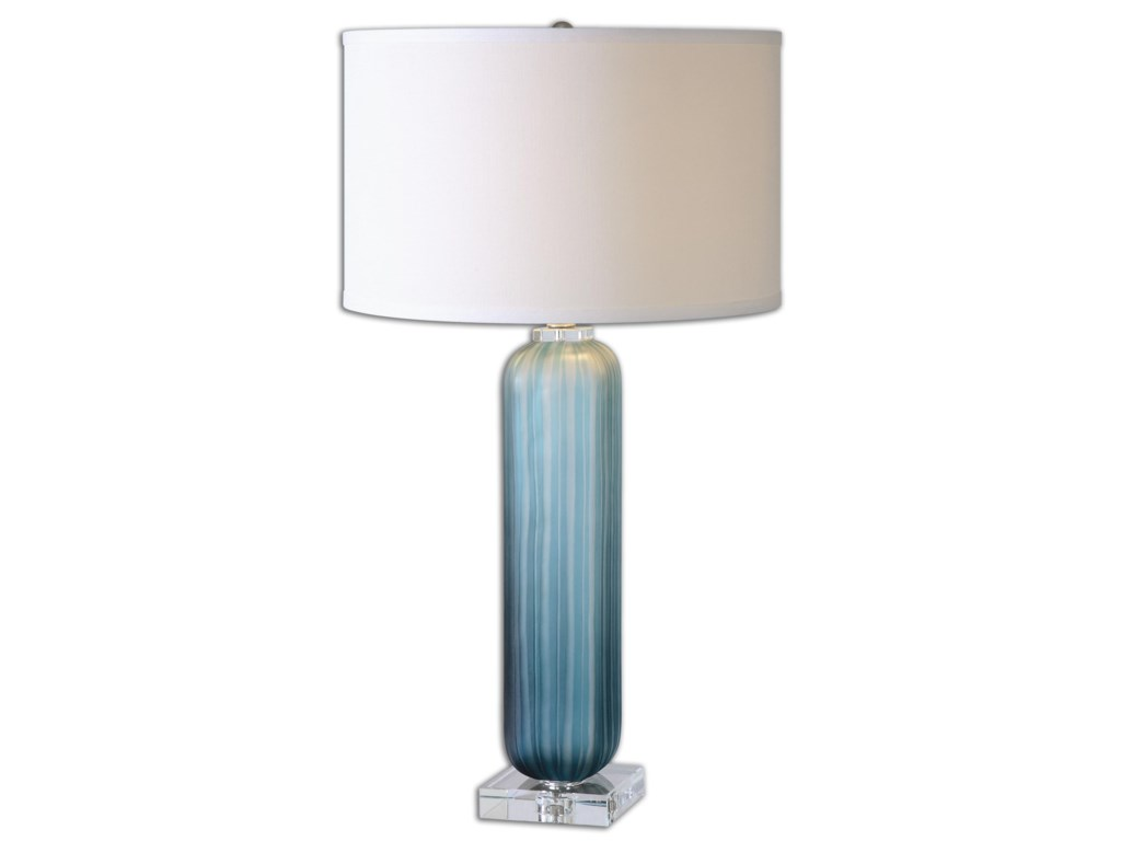 Uttermost Table LampsCaudina Frosted Blue Glass Lamp