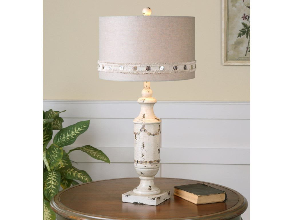 Uttermost Table LampsLacedonia Distressed Ivory Lamp