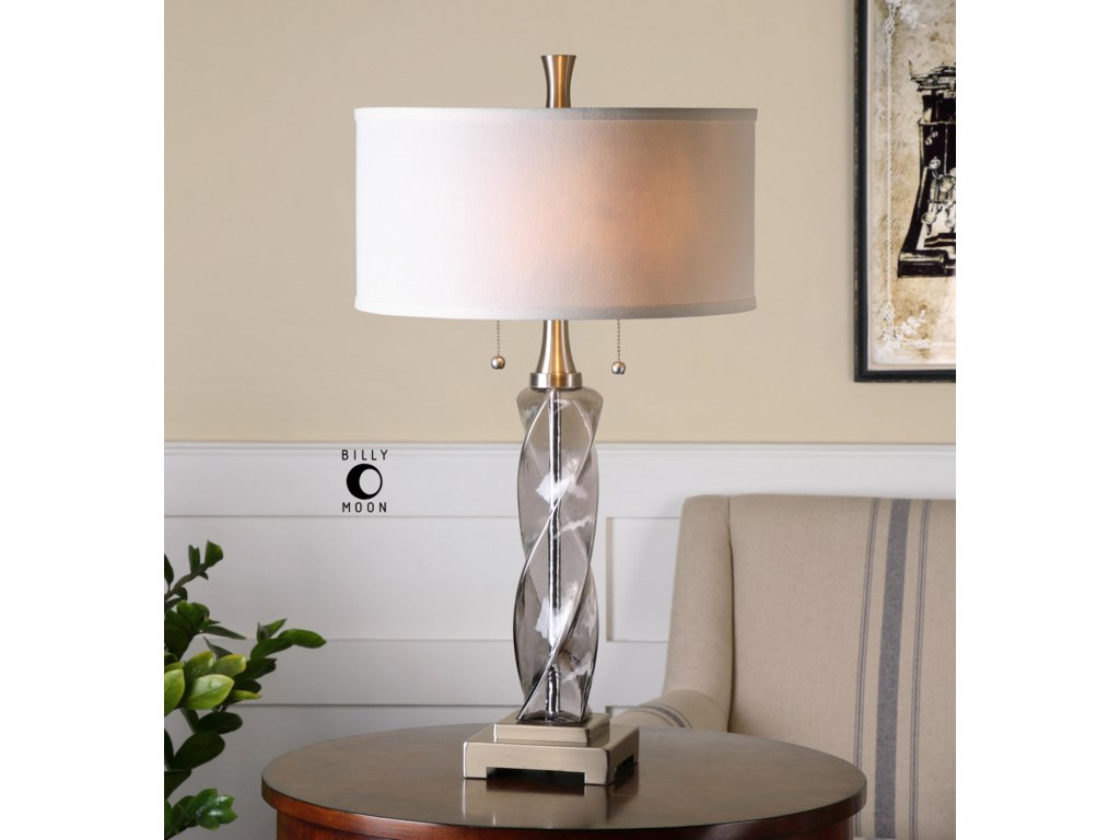 Uttermost Table LampsSpirano Gray Glass Table Lamp