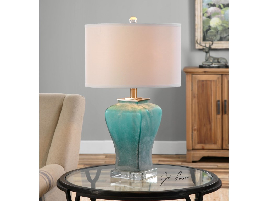 Uttermost Table LampsValtorta Blue-Green Glass Table Lamp