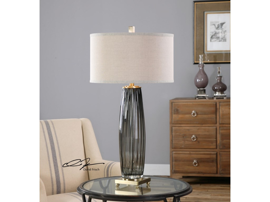 Uttermost Table LampsVilminore Gray Glass Table Lamp