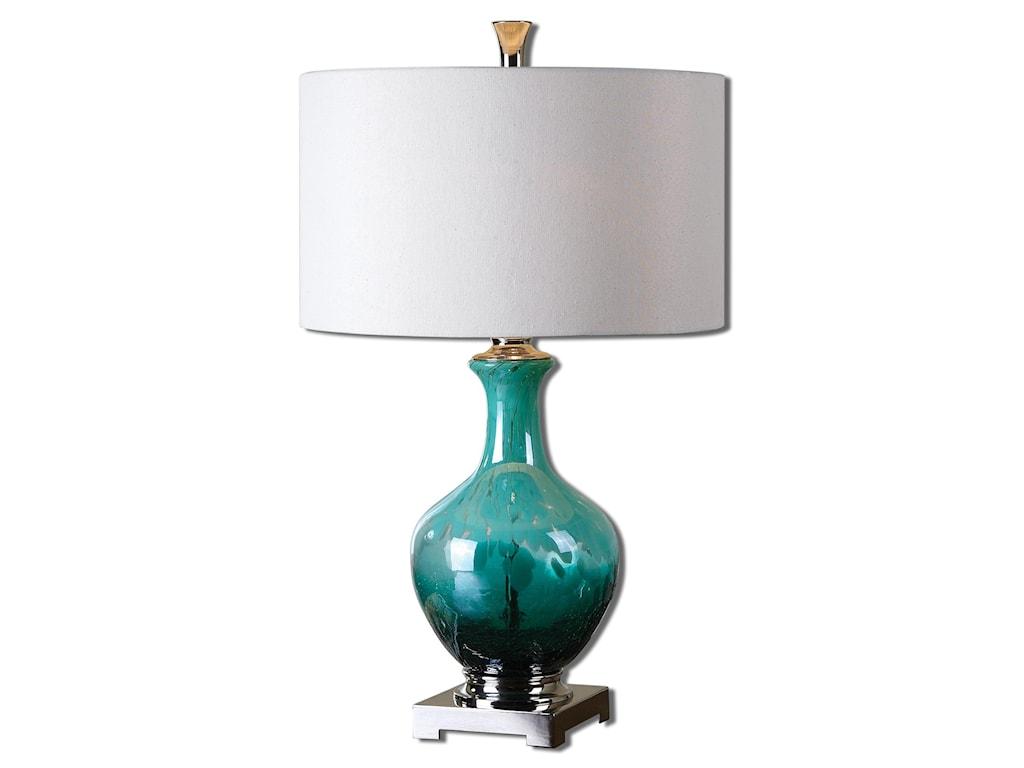 Uttermost Table LampsYvonne Green Blue Glass Table Lamp