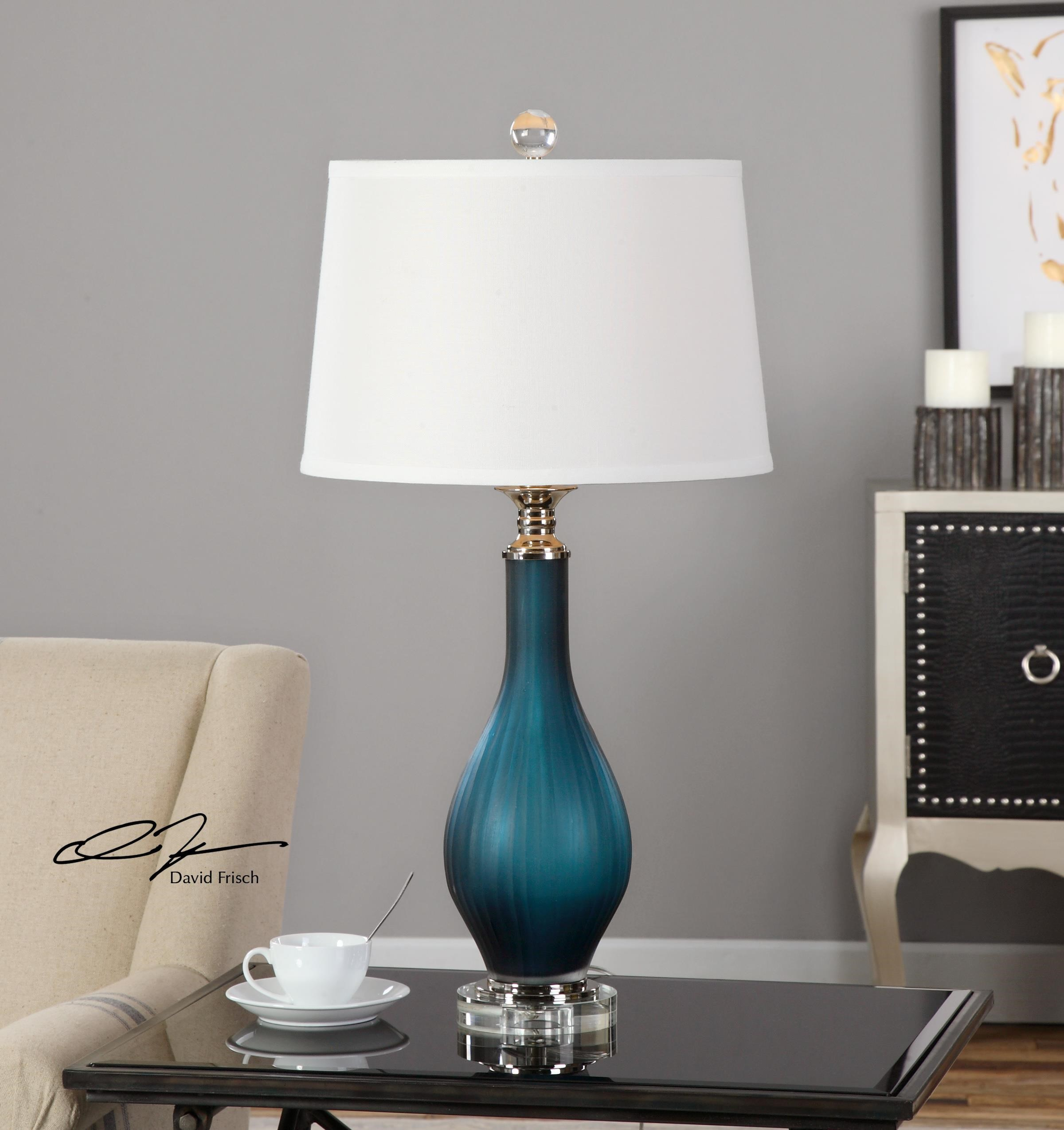 Uttermost Table Lamps Shavano Blue Glass Table Lamp Sheely S Furniture Appliance Table Lamps