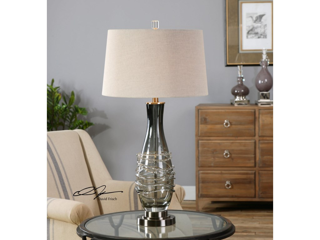 Uttermost Table LampsDurazzano Gray Glass Table Lamp