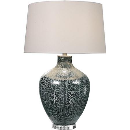 Zumpano Crackled Gray Table Lamp