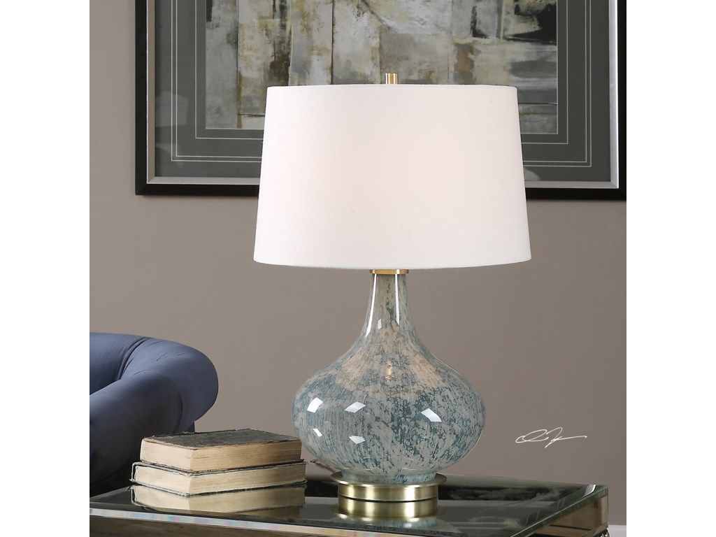 Uttermost Table LampsCelinda Blue Gray Glass Lamp