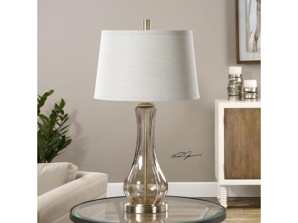 Uttermost Table LampsCynthiana Smoke Gray Glass Lamp