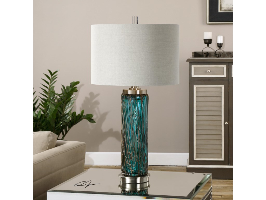 Uttermost Table LampsAlmanzora Blue Glass Lamp