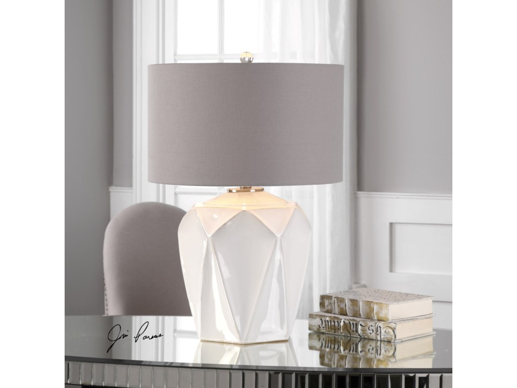 Uttermost Table Lamps Elvilar Gloss White Table Lamp