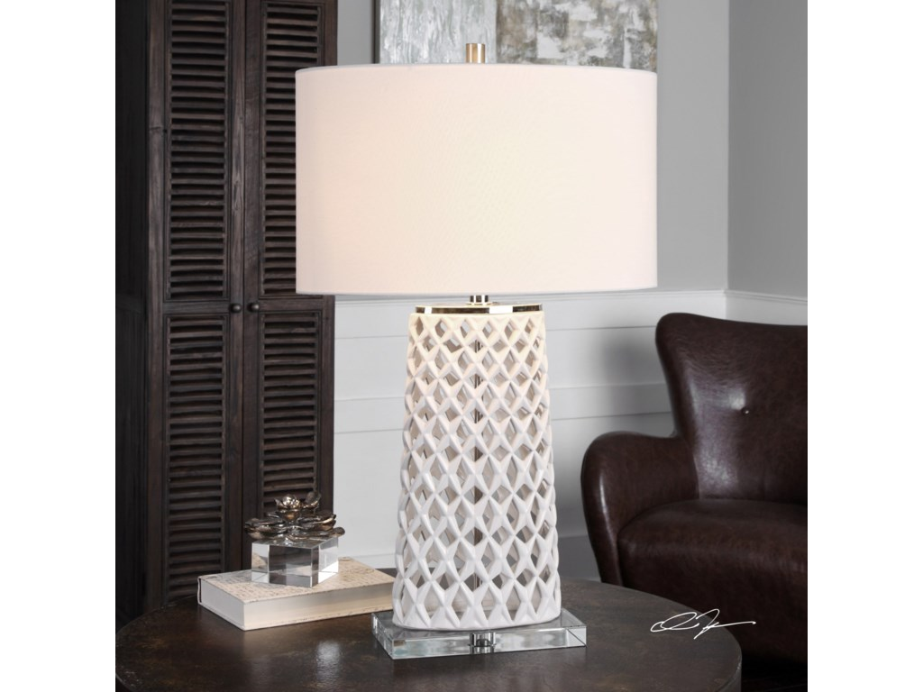 Uttermost Table Lamps Dania White Table Lamp