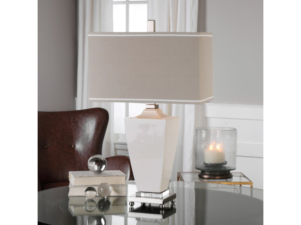Uttermost Table Lamps Rochelle White Glaze Table Lamp