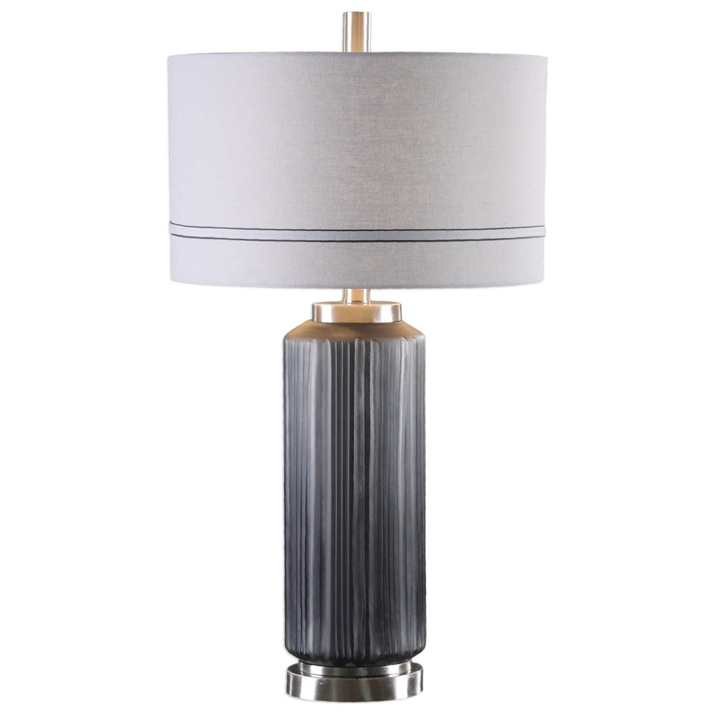 Uttermost Table Lamps Akila Charcoal Glass Table Lamp Adcock